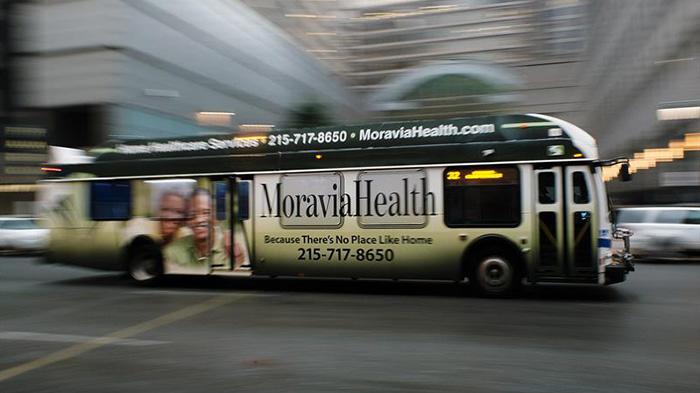 Moravia Health Home Healthcare agency bus advertisement